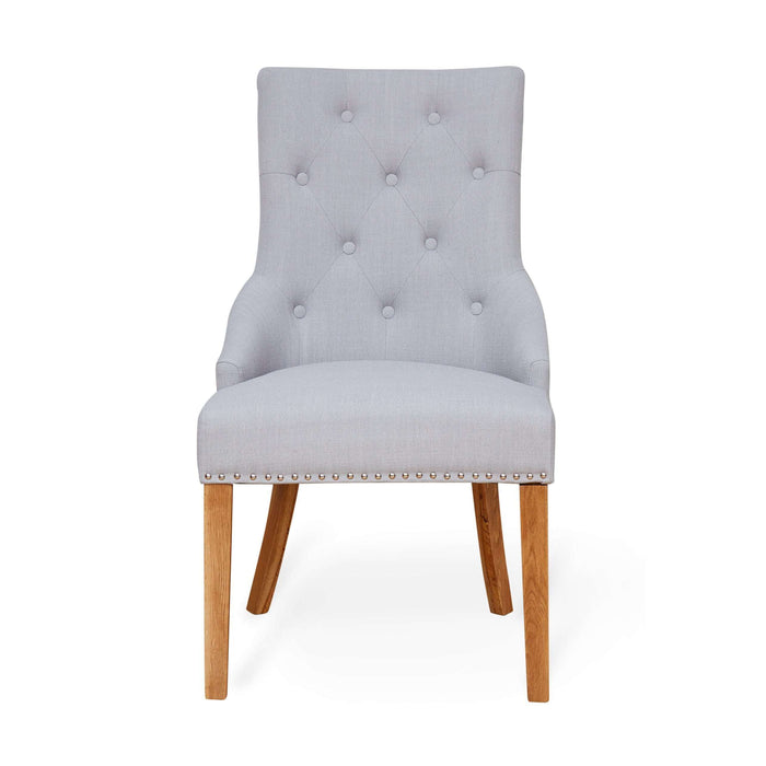 Baumhaus Oak Accent Narrow Back Upholstered Dining Chair - Grey (Pair)