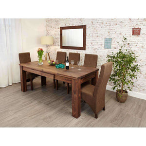 Furnish Our Home:Baumhaus Mayan Walnut Extending Dining Table with 6 x Dining Chairs (Slate)