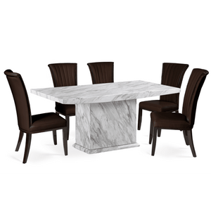 Furnish Our Home:Mark Harris Caceres Dining Table 180 with 6 x Almeria Brown Chairs