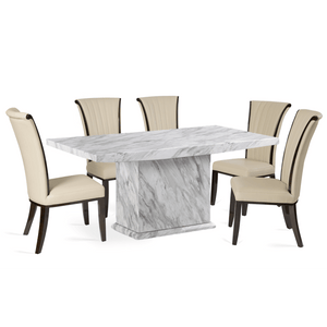 Furnish Our Home:Mark Harris Caceres Dining Table 180 with 6 x Almeria Cream Chairs