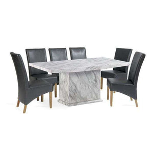 Furnish Our Home:Mark Harris Caceres Dining Table 180 with 6 x Roma Grey Chairs
