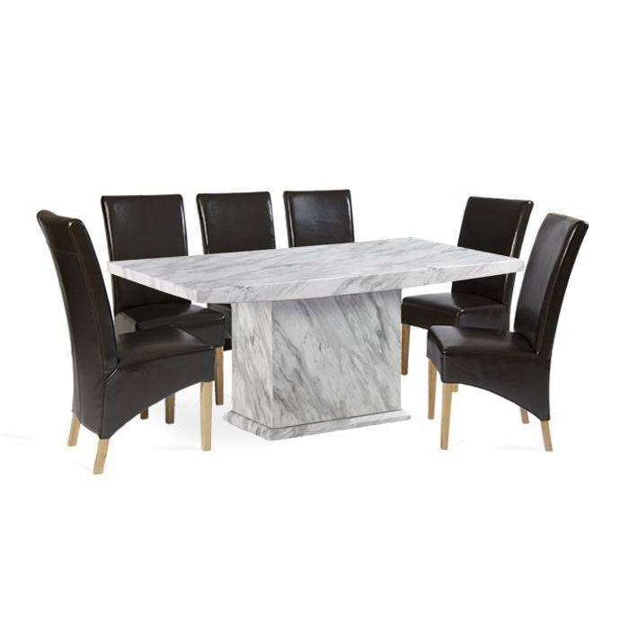 Mark Harris Caceres Dining Table 220 with 6 x Roma Brown Chairs