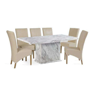 Furnish Our Home:Mark Harris Caceres Dining Table 220 with 6 x Roma Cream Chairs