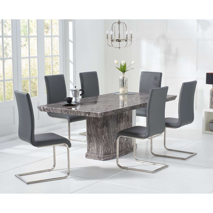 Mark Harris Como 200cm Grey Marble Dining Table with 6 x Grey Malibu Chairs