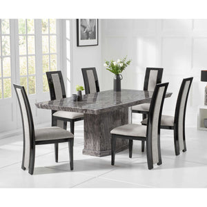 Furnish Our Home:Mark Harris Como 200cm Grey Marble Dining Table with 6 x Black Rivilino Chairs