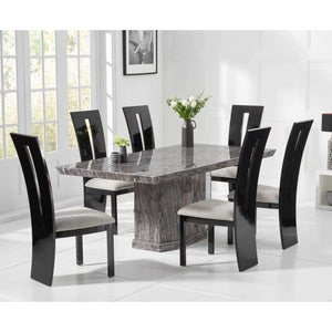 Furnish Our Home:Mark Harris Como 200cm Grey Marble Dining Table with 6 x Black Valencie Chairs