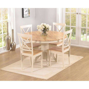 Furnish Our Home:Mark Harris Elstree Solid Hardwood & Painted Round Dining Table 120cm and 4 Chairs (Oak & Cream)