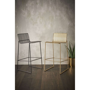 Furnish Our Home:Gillmore Space Finn Bar Stool with Silver woven fabric & Brass Frame