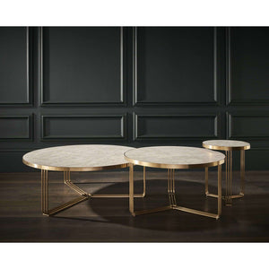 Furnish Our Home:Gillmore Space Finn Large Circular Coffee Table - Pale Stone Top & Brass Frame
