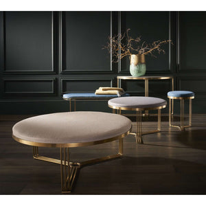 Furnish Our Home:Gillmore Space Finn Small Circular Coffee Table or Footstool - Admiral Blue Upholstered & Brass Frame