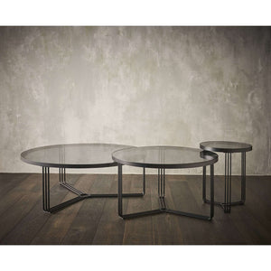Furnish Our Home:Gillmore Space Finn Small Circular Coffee Table - Smoked Glass Top & Black Frame