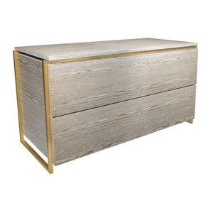 Furnish Our Home:Gillmore Space - Federico - Bedside Storage Chest with Two Drawers - Weathered Oak With Brass Frame
