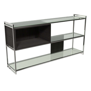 Furnish Our Home:Gillmore Space - Federico - Low Bookcase with Glass shelves, Black Stained Oak With Polished Frame