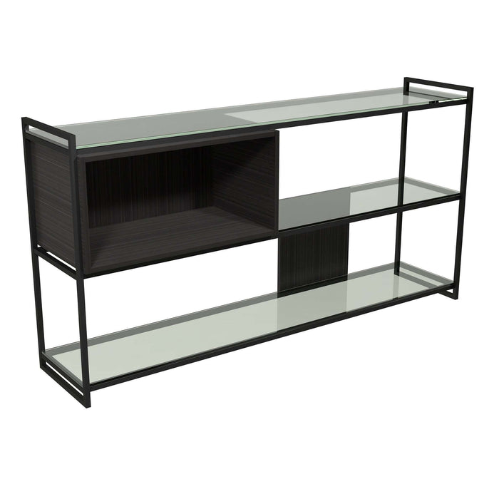 Gillmore Space - Federico - Low Bookcase with Glass shelves, Black Stained Oak With Black Frame