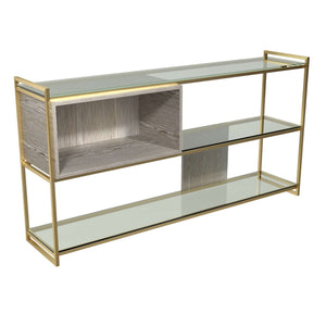 Furnish Our Home:Gillmore Space - Federico - Low Bookcase with Glass shelves, Weathered Oak With Brass Frame