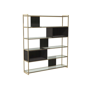 Furnish Our Home:Gillmore Space - Federico - High Bookcase with Glass shelves, Black Stained Oak With Brass Frame