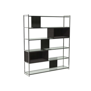Furnish Our Home:Gillmore Space - Federico - High Bookcase with Glass shelves, Black Stained Oak With Polished Frame