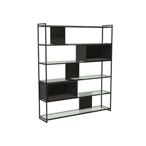 Furnish Our Home:Gillmore Space - Federico - High Bookcase with Glass shelves, Black Stained Oak With Black Frame