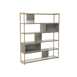 Furnish Our Home:Gillmore Space - Federico - High Bookcase with Glass shelves, Weathered Oak With Brass Frame