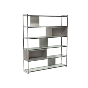 Furnish Our Home:Gillmore Space - Federico - High Bookcase with Glass shelves, Weathered Oak With Polished Frame