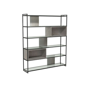 Furnish Our Home:Gillmore Space - Federico - High Bookcase with Glass shelves, Weathered Oak With Black Frame