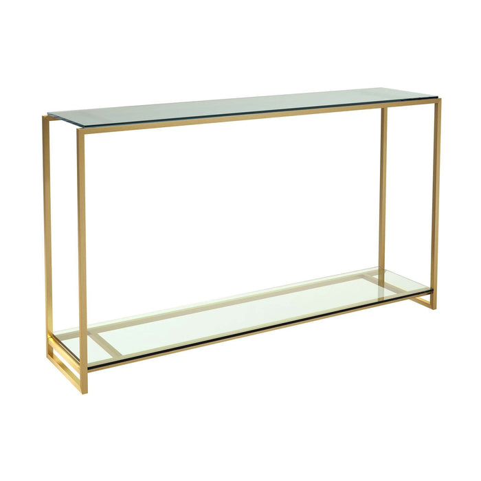 Gillmore - Federico - Narrow Console Table - Clear Glass Shelves With Brass Frame