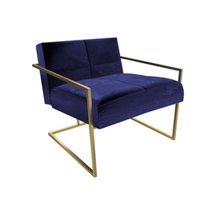Furnish Our Home:Gillmore Space - Federico - Armchair - Midnight Blue Velvet With Brass Frame