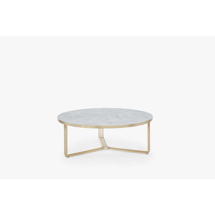 Gillmore Space Finn Large Circular Coffee Table - Pale Stone Top & Brass Frame