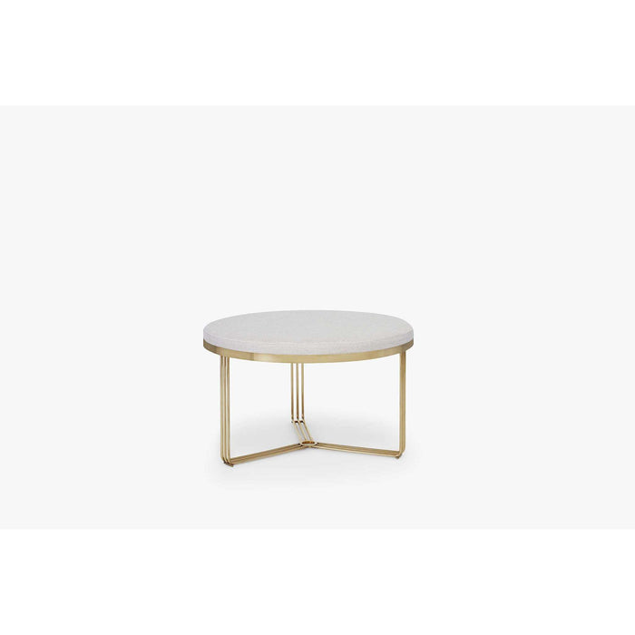 Gillmore Space Finn Small Circular Coffee Table or Footstool - Natural Upholstered & Brass Frame