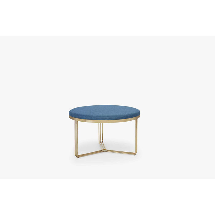 Gillmore Space Finn Small Circular Coffee Table or Footstool - Admiral Blue Upholstered & Brass Frame