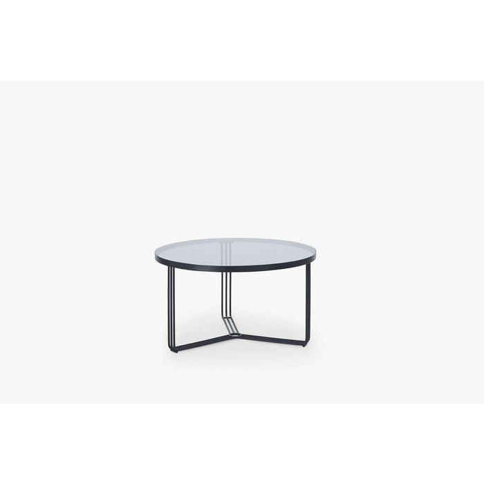 Gillmore Space Finn Small Circular Coffee Table - Smoked Glass Top & Black Frame