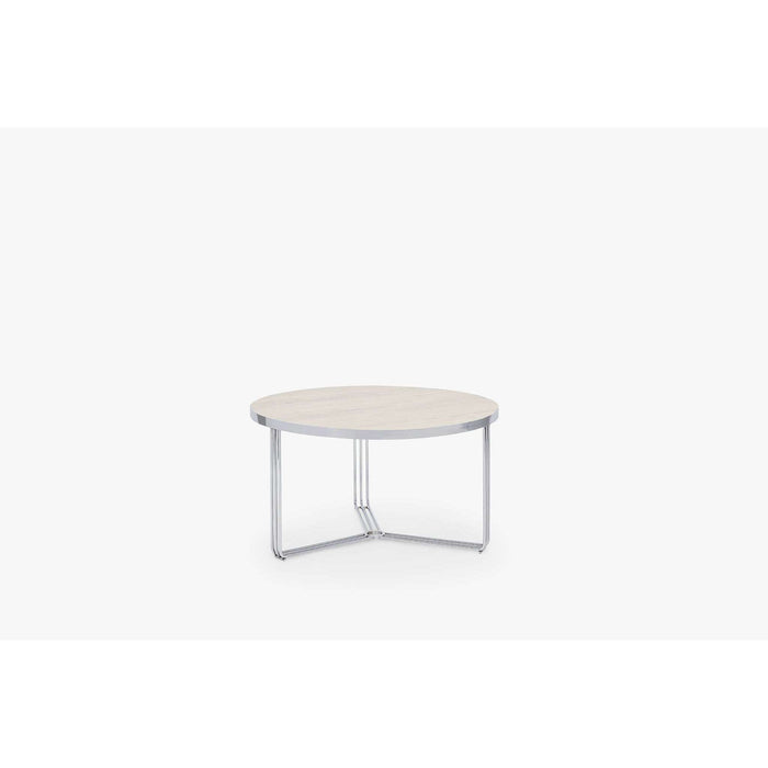Gillmore Space Finn Small Circular Coffee Table - Pale Oak Top & Polished Chrome Frame