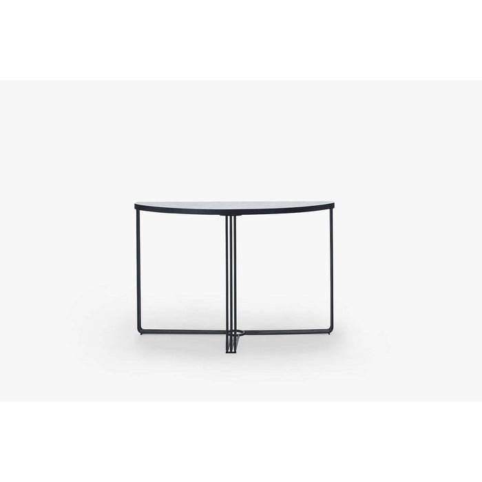 Gillmore Space Finn Demi Lune Console Table - White Marble Top & Black Frame