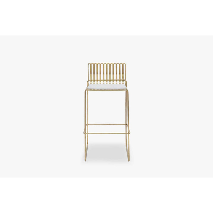 Gillmore Space Finn Bar Stool with Silver woven fabric & Brass Frame