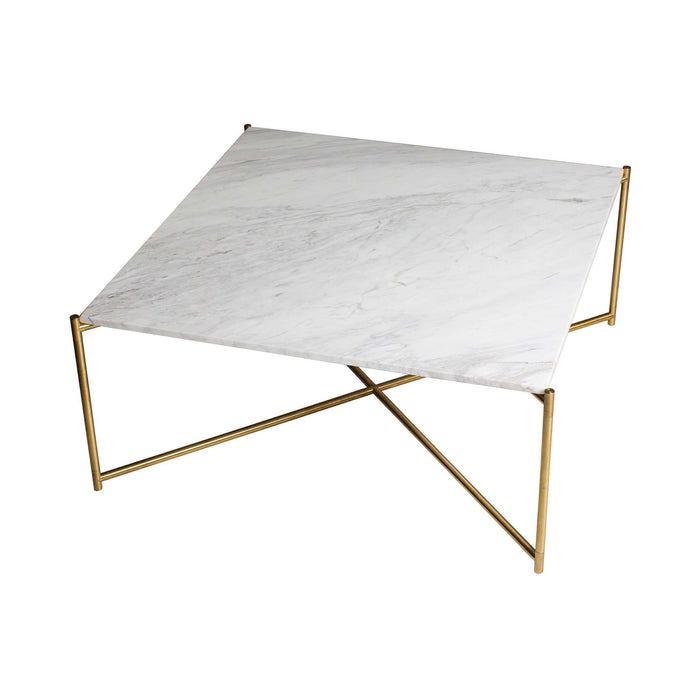 Gillmore Space Iris Square Coffee Table - White Marble & Brass Frame