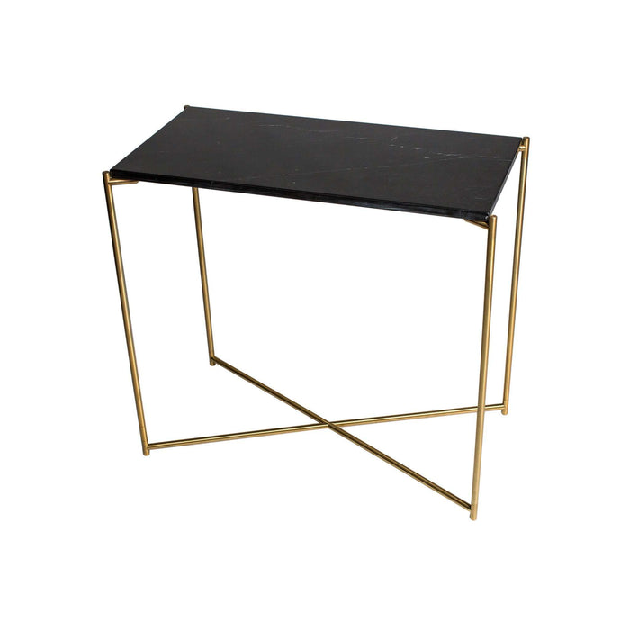 Gillmore Space Iris Small Console Table - Black Marble Top & Brass Frame