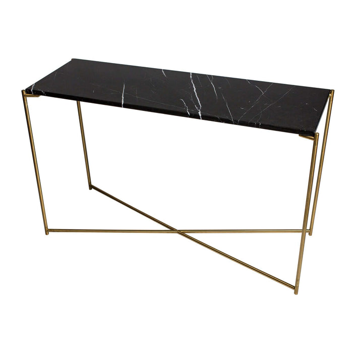 Gillmore Space Iris Large Console Table - Black Marble Top & Brass Frame