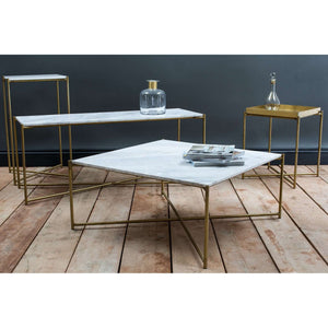 Furnish Our Home:Gillmore Space Iris Square Coffee Table - White Marble & Brass Frame