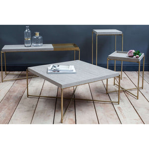 Furnish Our Home:Gillmore Space Iris Small Tray Top Console Table - Weathered Oak Top & Brass Frame