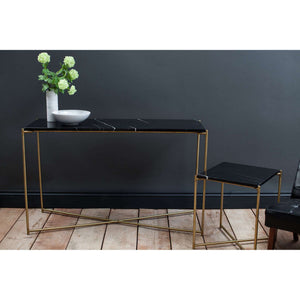 Furnish Our Home:Gillmore Space Iris Large Console Table - Black Marble Top & Brass Frame