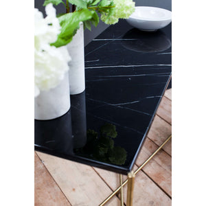 Furnish Our Home:Gillmore Space Iris Small Console Table - Black Marble Top & Brass Frame