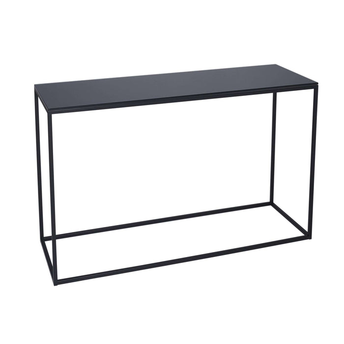 Gillmore Space Kensal Console Table - Black Glass With Black Base