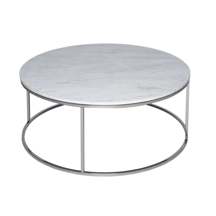 Gillmore Space Kensal Circular Coffee Table - White Marble With Polished Base
