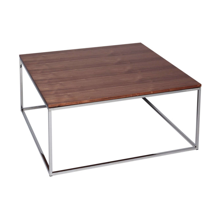 Gillmore Space Kensal Square Coffee Table - Walnut With Polished Base
