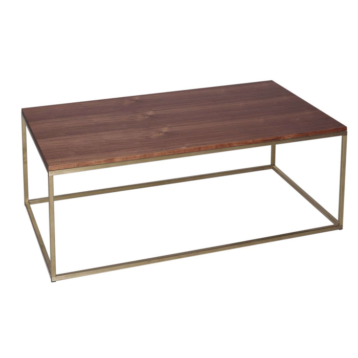 Gillmore Space Kensal Rectangular Coffee Table - Walnut With Brass Base
