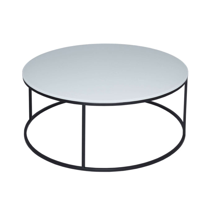 Gillmore Space Kensal Circular Coffee Table - White Glass With Black Base