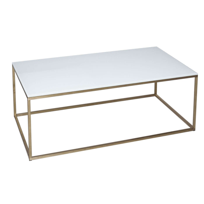 Gillmore Space Kensal Rectangular Coffee Table - White Glass With Brass Base