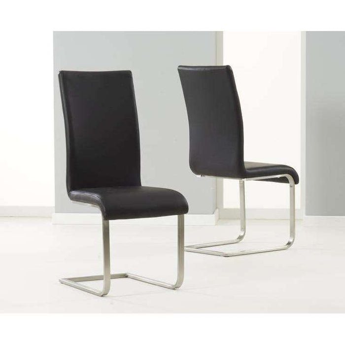 Mark Harris Malibu Black Pu Leather & Chrome Chairs (Pair)