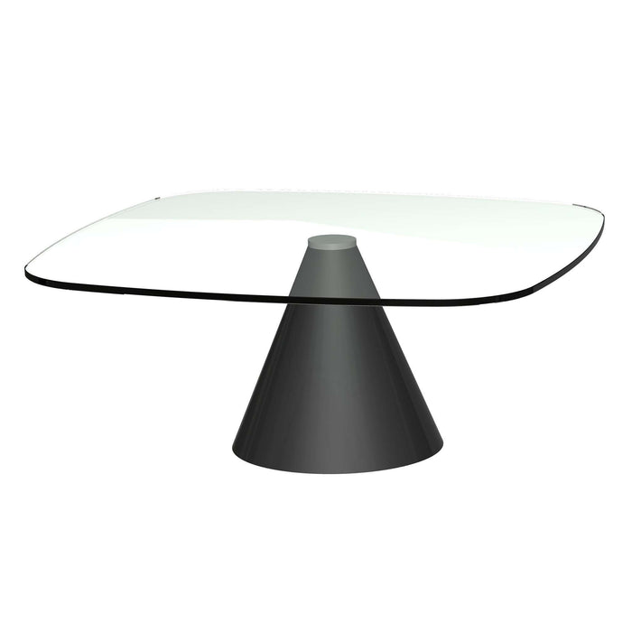 Gillmore - Oscar - Small Square Coffee Table - Clear Glass Top & Black Base