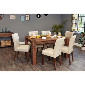 Furnish Our Home:Baumhaus Shiro Walnut 150cm Dining Table with 6 x Flare Back Biscuit Dining Chairs